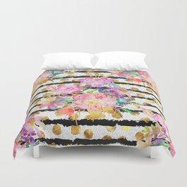 Elegant spring flowers and stripes design Duvet Cover