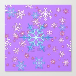 LILAC PURPLE WINTER SNOWFLAKES Canvas Print