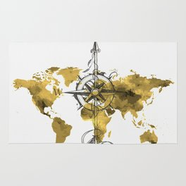 Gold World Map 2 Rug