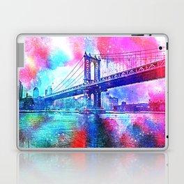 Colorful New York Pink Blue Photograph Laptop & iPad Skin