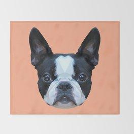 Frenchie / Boston Terrier // Peach / Apricot Throw Blanket