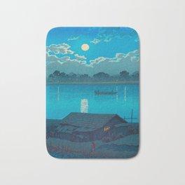 Vintage Japanese Woodblock Print Fishing Village At Night Fishing Boat Moonlight Bath Mat