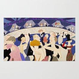Dancing couples in jazz age nightclub Rug