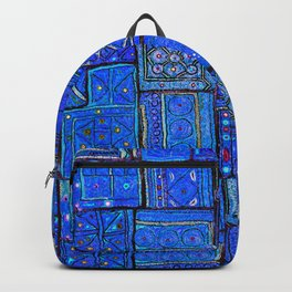 V2 Calm Blue Traditional Moroccan Cloth Texture. Backpack