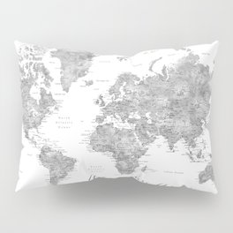 Adventure awaits... detailed world map in grayscale watercolor Pillow Sham