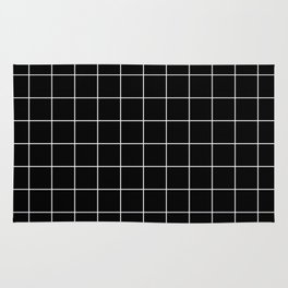 Grid Simple Line Black Minimalistic Rug