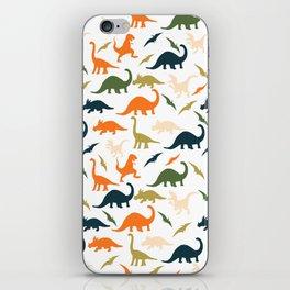 Dinos in Pastel Green and Orange iPhone Skin