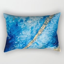 Blue Skies [2]: a pretty, abstract mixed-media piece in blue, gold and white Rectangular Pillow