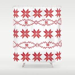 Scandinavian inspired print with red mini stars Shower Curtain