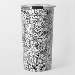 Lots of Bodies Doodle in Black and White Travel Mug