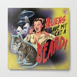 Aliens Gave My Cat A Beard (Yellow) Metal Print