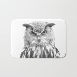 Black and white owl animal portrait Bath Mat