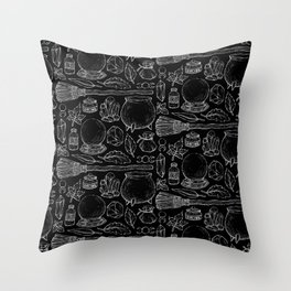 Witchcraft I [B&W] Throw Pillow