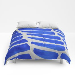 Royal blue Stripes pattern Comforters