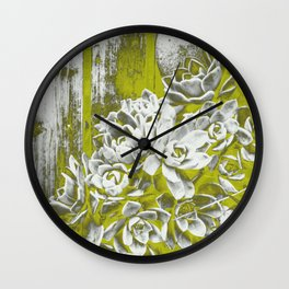 Chartreuse Green Hen and Chicks Wall Clock