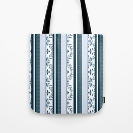 zakiaz navy & white french stripe Tote Bag