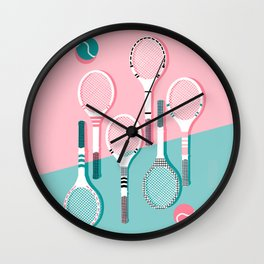 Got Served - tennis country club sports athlete retro throwback memphis 1980s style neon palm spring Wall Clock
