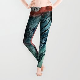 Motion: an abstract mixed media piece in muted primary colors Leggings