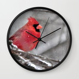 Quiet Time in the Snowy Woods Wall Clock