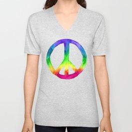 Rainbow Watercolor Peace Sign - Black Background Unisex V-Neck