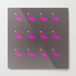 Flamingos in gray Metal Print