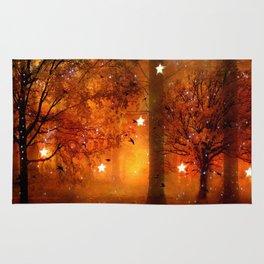 Surreal Fantasy Fairy Tale Woodlands Nature Trees Stars Print Rug