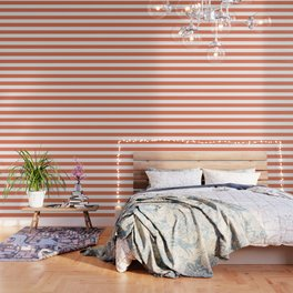 Burnt sienna - solid color - white stripes pattern Wallpaper