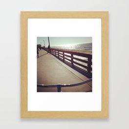 Bike Ride In Newport Beach Pier Framed Art Print