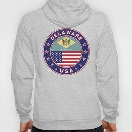 Delaware, Delaware t-shirt, Delaware sticker, circle, Delaware flag, white bg Hoody