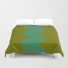 groovy minimalist pattern aqua waves on olive Duvet Cover