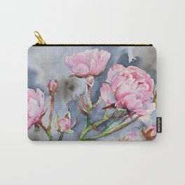 Spring Pink Roses and a Dark Sky Carry-All Pouch