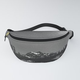Summer Stars Black and White - Galaxy Mountain Reflection Fanny Pack