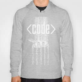 Code / 3D render of binary data flowing on to human hand Hoody