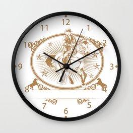 Illustration of cowboys riding horse Wall Clock
