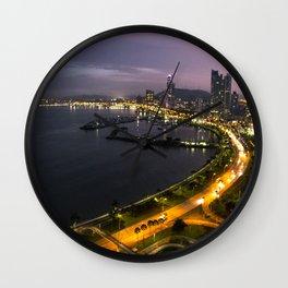 Panama City at Dusk Wall Clock
