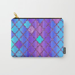 Moroccan Tile Pattern In Purple And Aqua Blue Carry-All Pouch