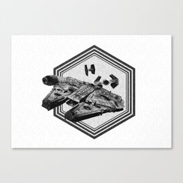 Millennium Falcon Art - StarWars Dot-work Pointillism Fan Art Canvas Print