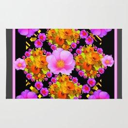 Wild Pink & Fuchsia Roses Daffodil Grey Pattern Rug
