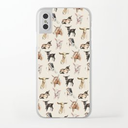 Vintage Goat All-Over Fabric Print Clear iPhone Case