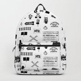 Railroad Symbols on White Backpack
