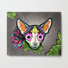 Chihuahua in Moo - Day of the Dead Sugar Skull Dog Metal Print