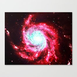 Spiral Galaxy Red Aqua Canvas Print