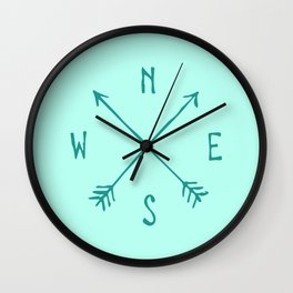 Find My Way \\ Teal Compass Art Wall Clock