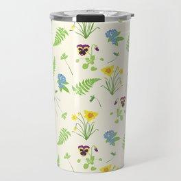 Spring Flowers and Ferns Illustrated Pattern Print Travel Mug