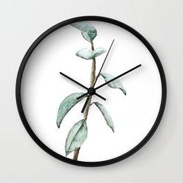Watercolor Ficus Leaves Wall Clock