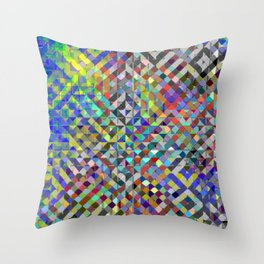 Holy Square Glitch Pattern Throw Pillow