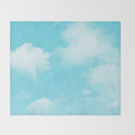 Aqua Blue Clouds Throw Blanket