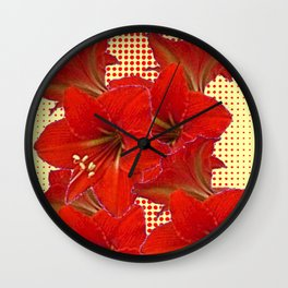 CLUSTER RED AMARYLLIS FLOWERS YELLOW-RED ART Wall Clock