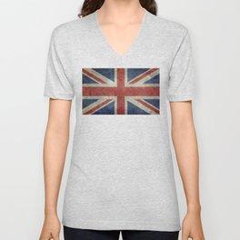 England's Union Jack, Dark Vintage 3:5 scale Unisex V-Neck