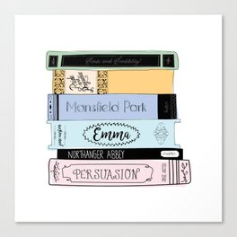 Jane Austen Book Stack in Colour Canvas Print